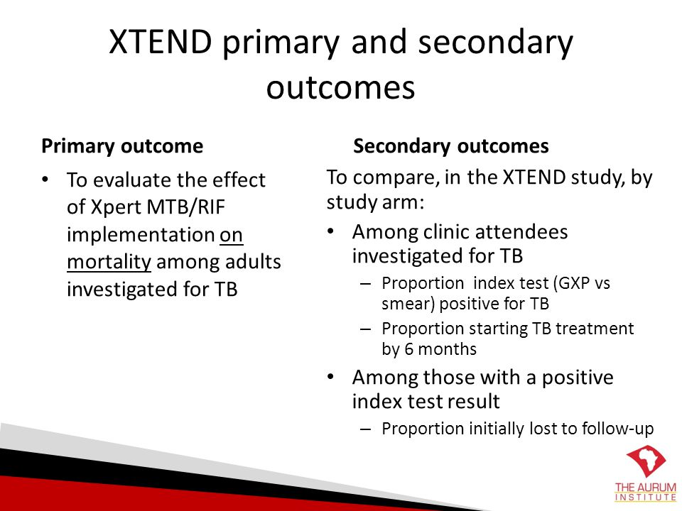 XTEND primary and secondary outcomes