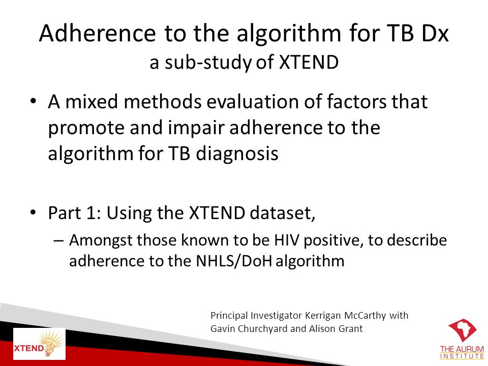 Adherence to the algorithm for TB Dx a sub-study of XTEND