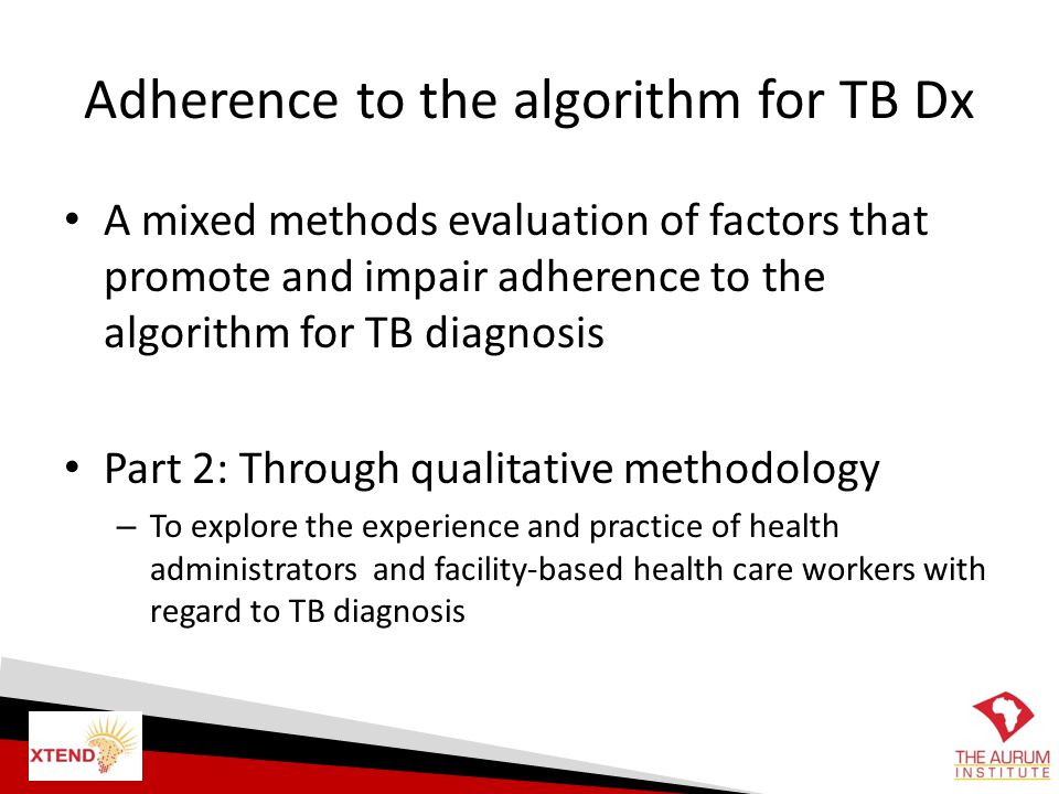 Adherence to the algorithm for TB Dx