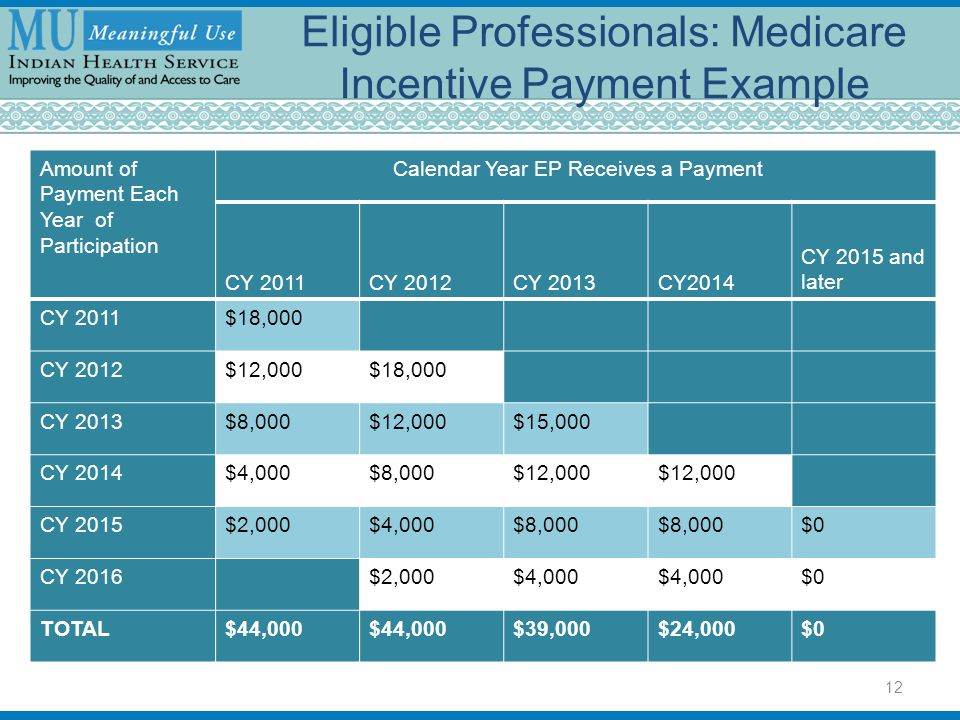 Eligible Professionals: Medicare Incentive Payment Example