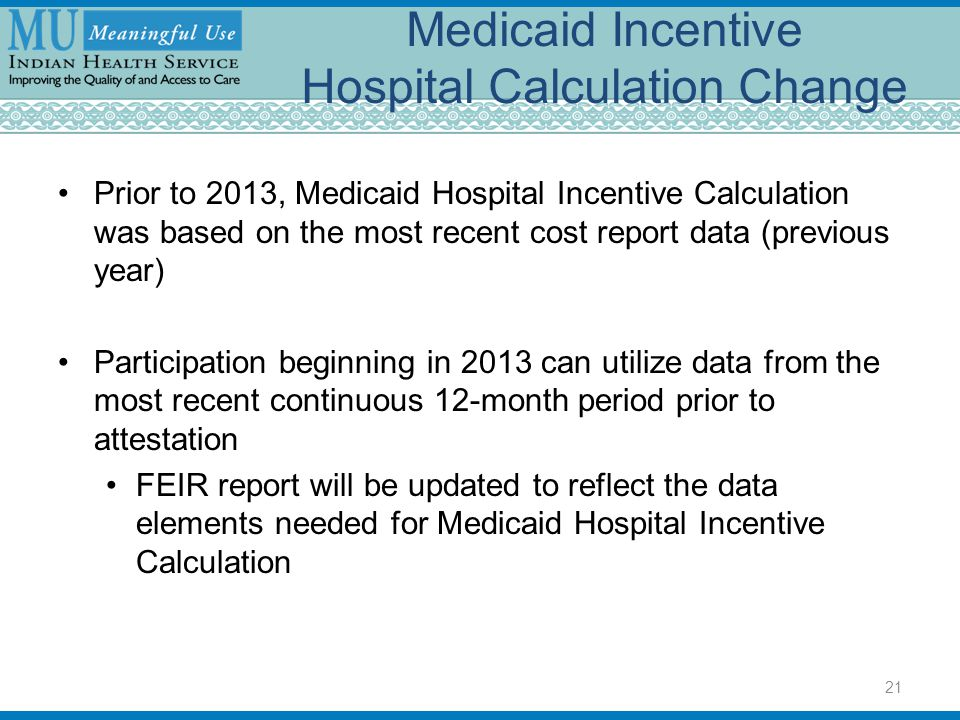Medicaid Incentive Hospital Calculation Change