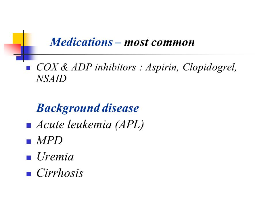 Medications – most common