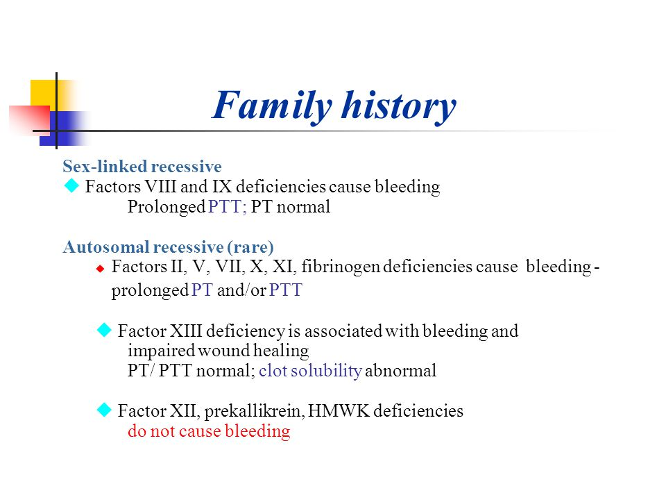 Family history prolonged PT and/or PTT Sex-linked recessive