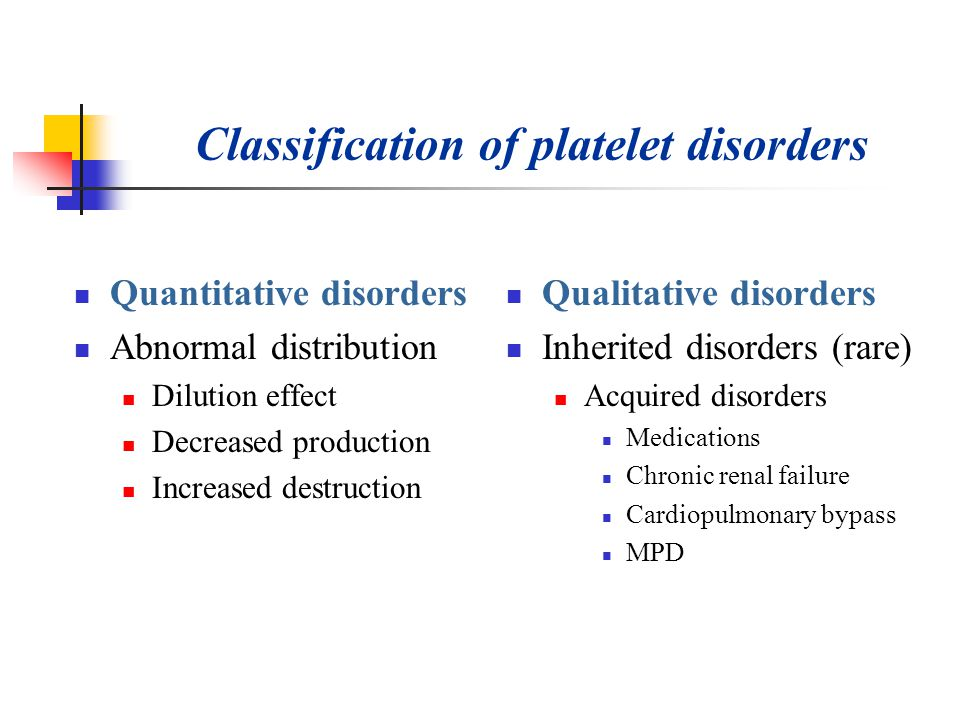 Classification of platelet disorders