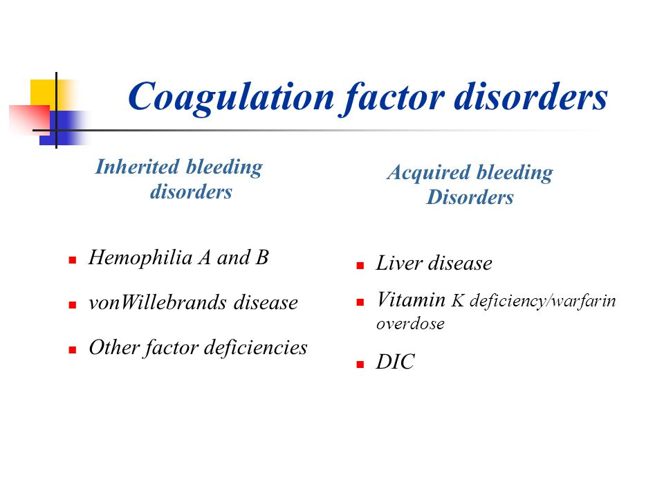 Coagulation factor disorders