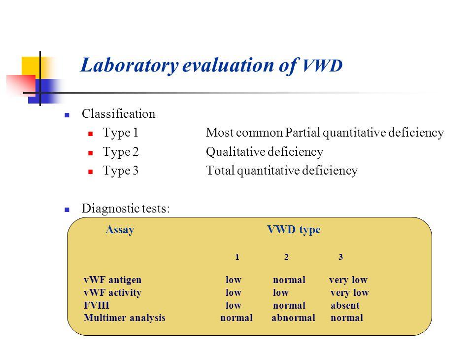 Laboratory evaluation of VWD