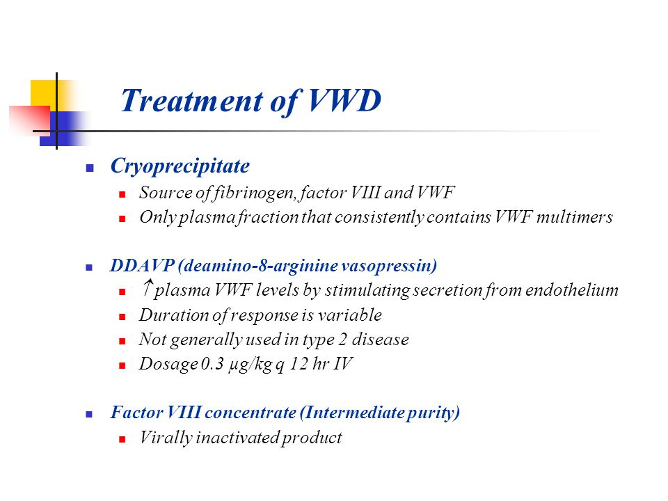 Treatment of VWD Cryoprecipitate