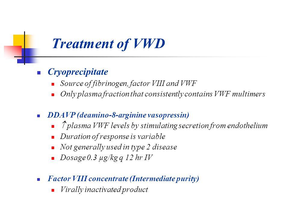 Treatment of VWD Cryoprecipitate