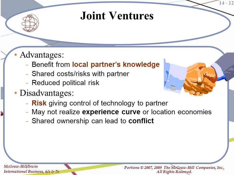 Joint Ventures Advantages: Disadvantages: