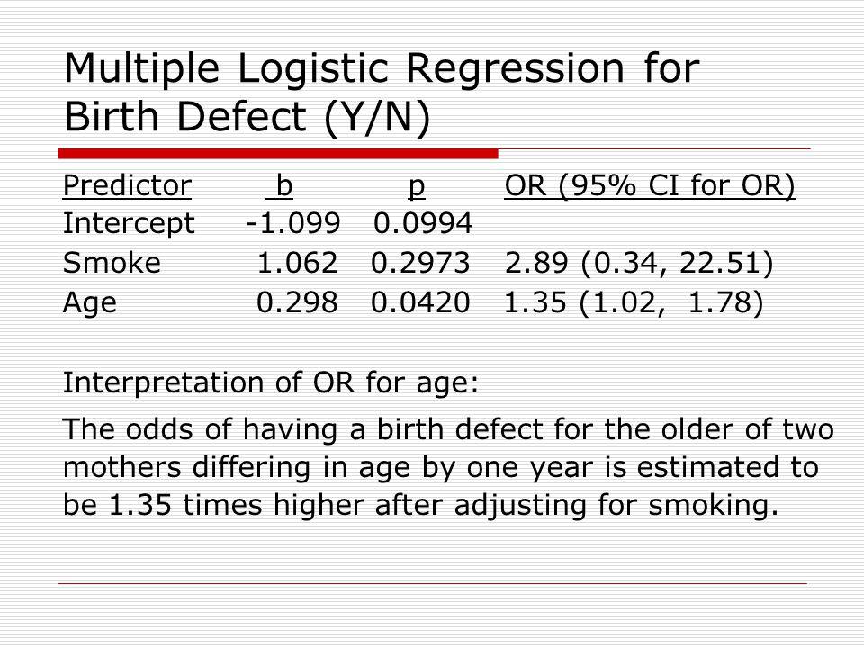 Multiple Logistic Regression for Birth Defect (Y/N)