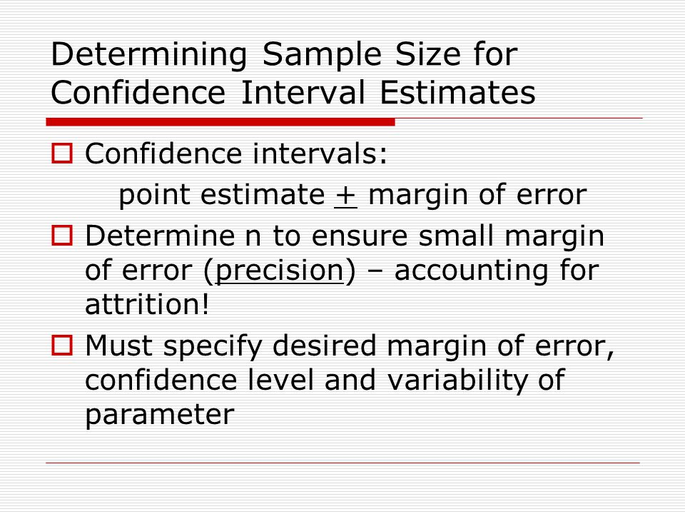 Determining Sample Size for Confidence Interval Estimates