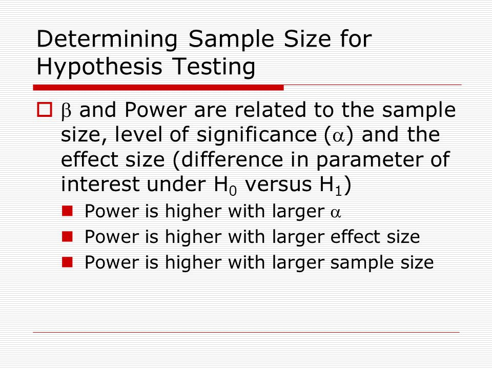 Determining Sample Size for Hypothesis Testing