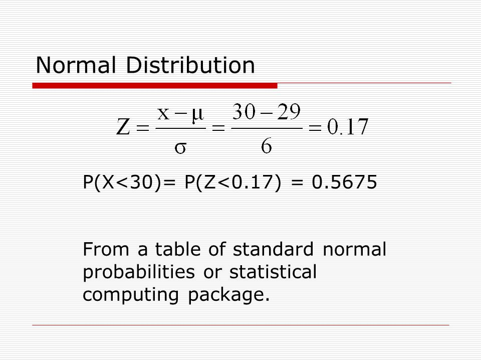 Normal Distribution P(X<30)= P(Z<0.17) = 0.5675