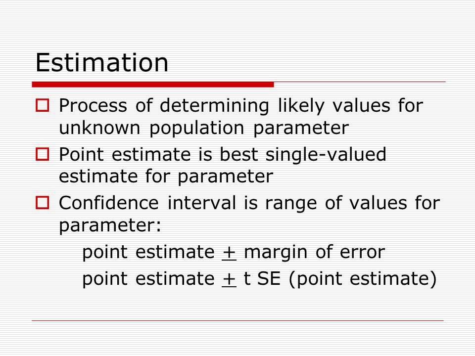 Estimation Process of determining likely values for unknown population parameter. Point estimate is best single-valued estimate for parameter.