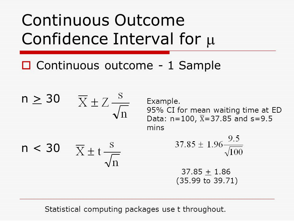 Continuous Outcome Confidence Interval for m