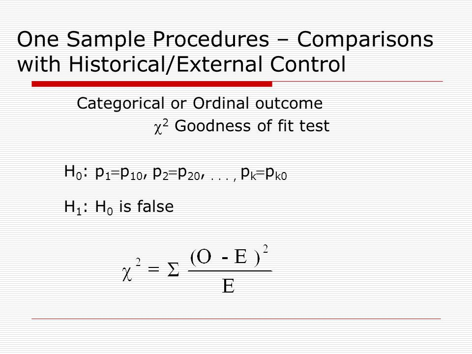 One Sample Procedures – Comparisons with Historical/External Control