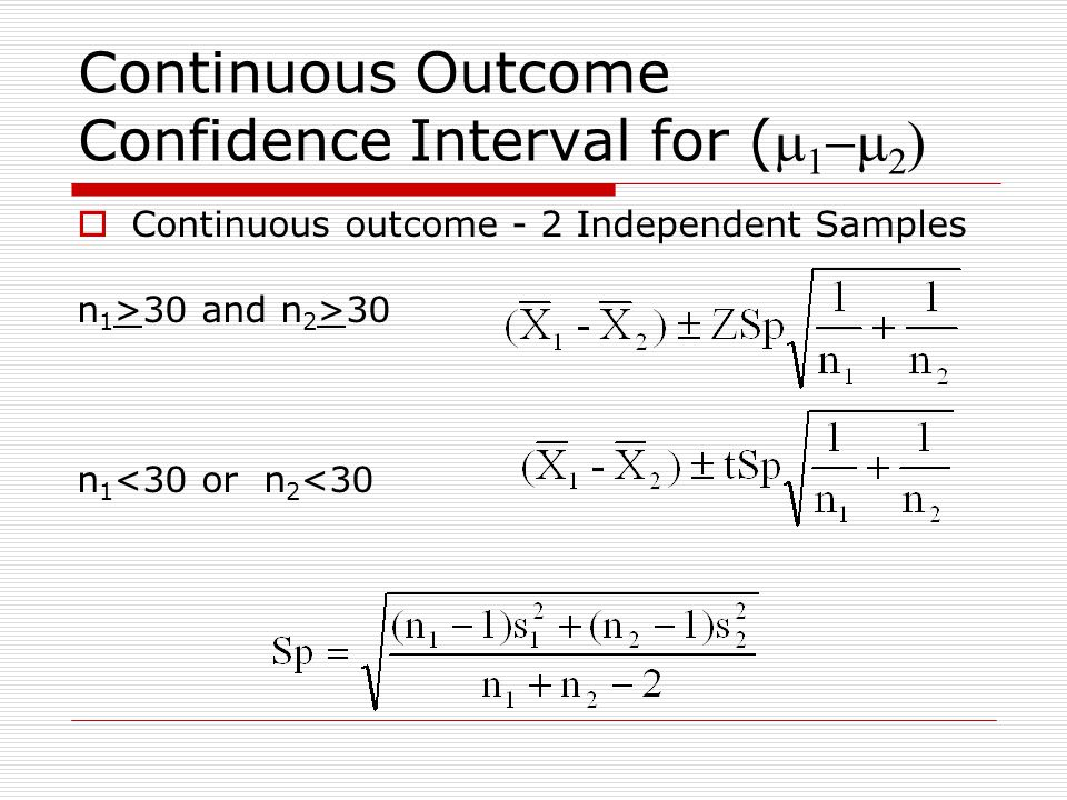 Continuous Outcome Confidence Interval for (m1-m2)