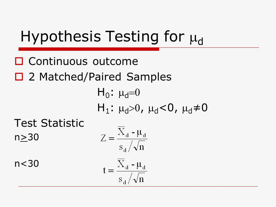 Hypothesis Testing for md