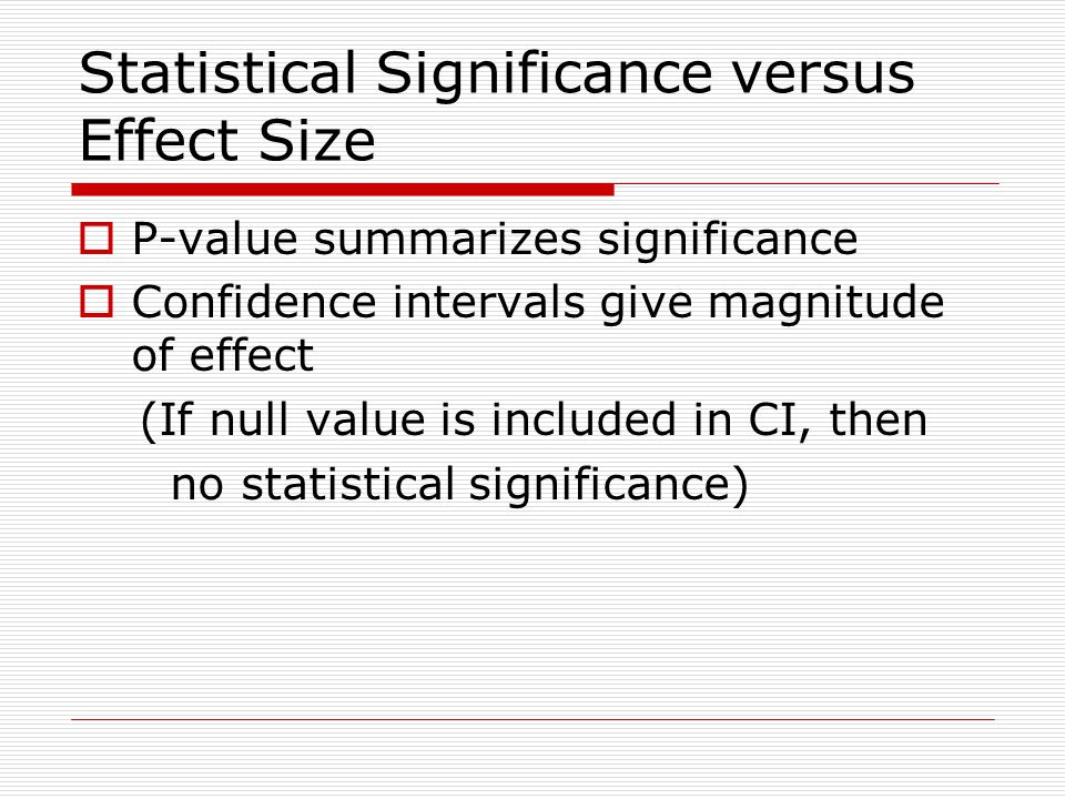 Statistical Significance versus Effect Size