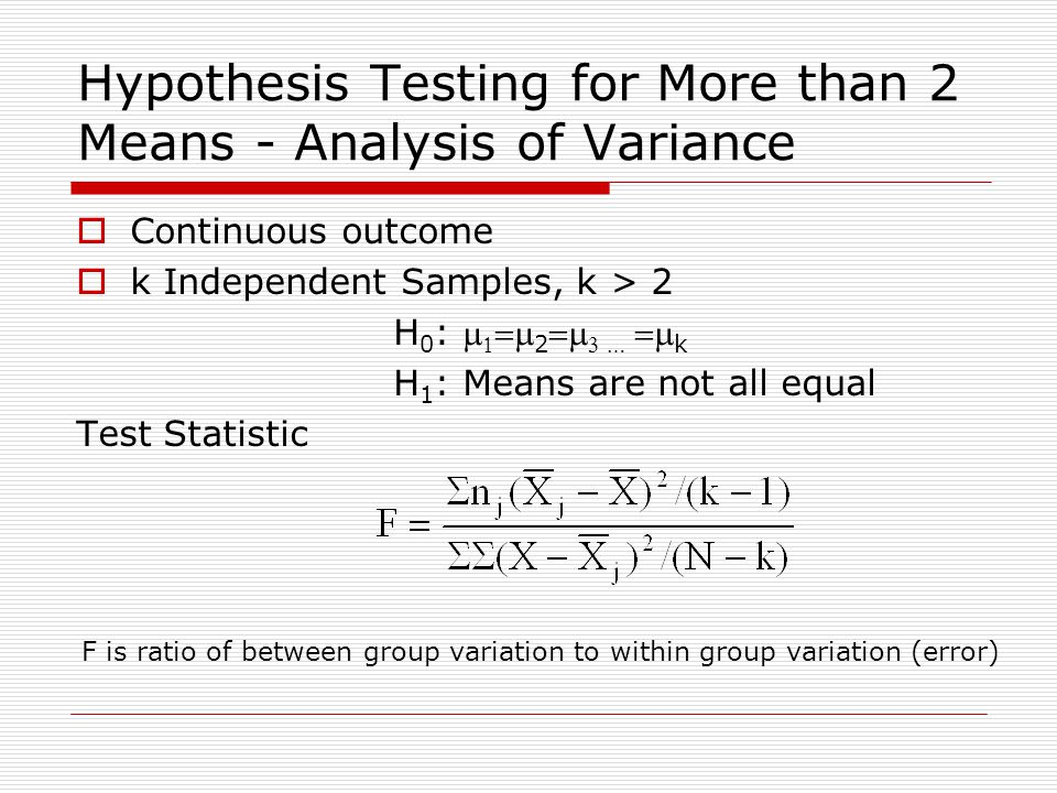 Hypothesis Testing for More than 2 Means - Analysis of Variance