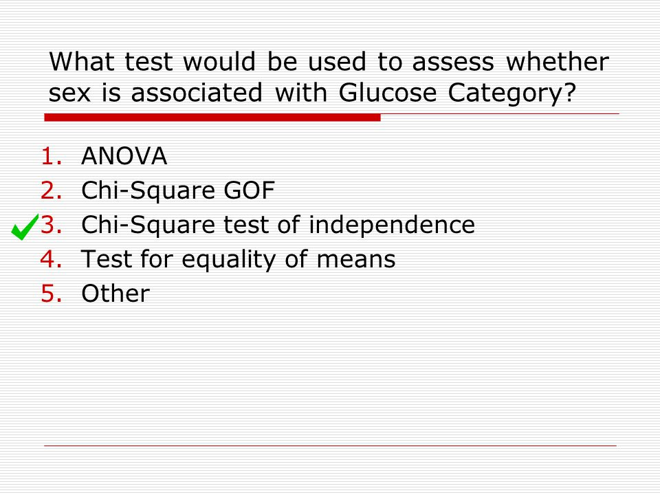 What test would be used to assess whether sex is associated with Glucose Category