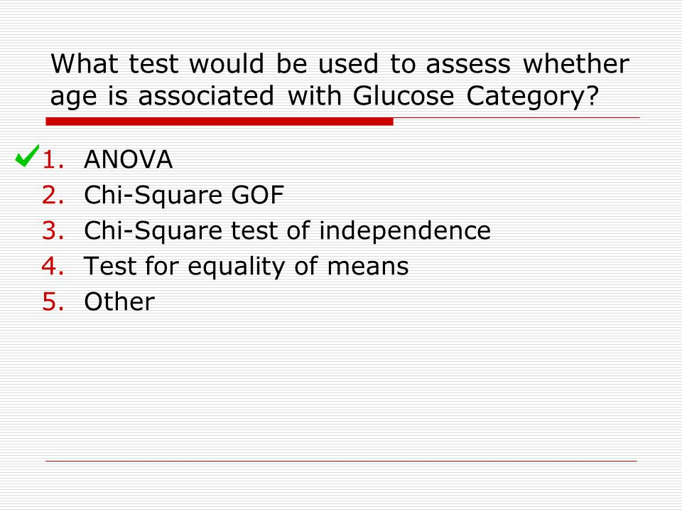 What test would be used to assess whether age is associated with Glucose Category