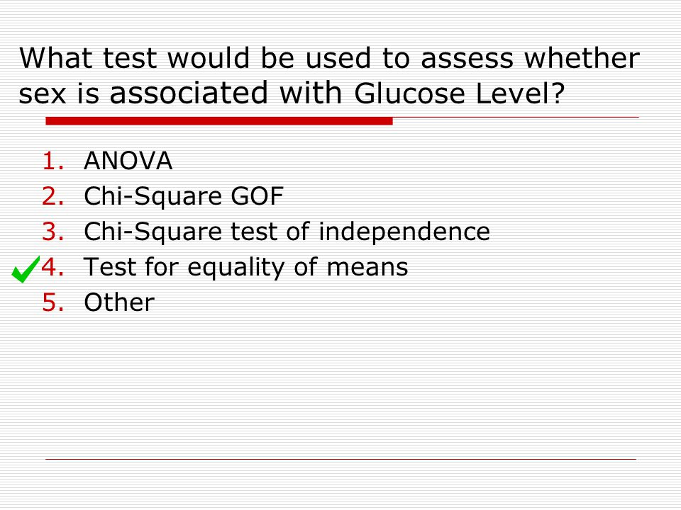 What test would be used to assess whether sex is associated with Glucose Level