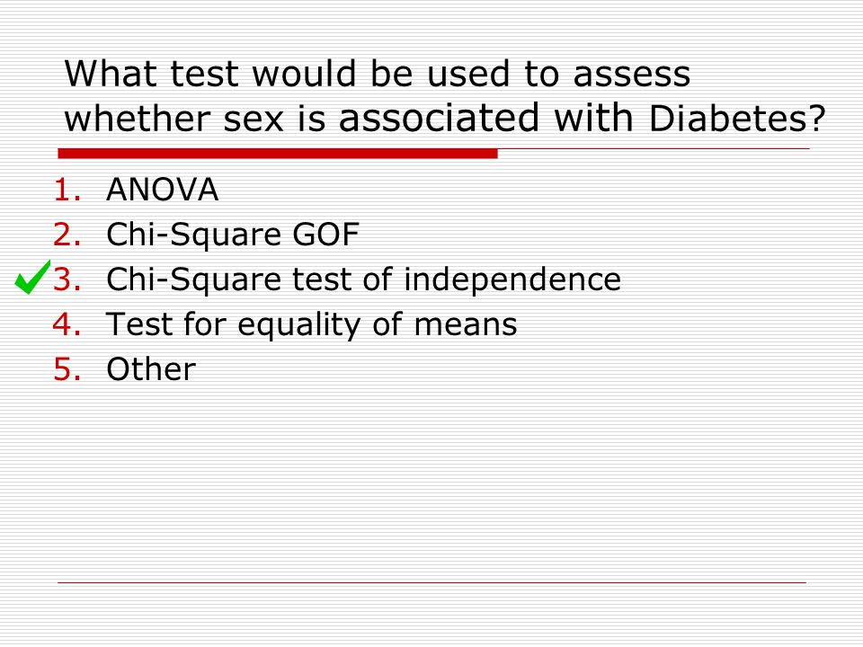 What test would be used to assess whether sex is associated with Diabetes
