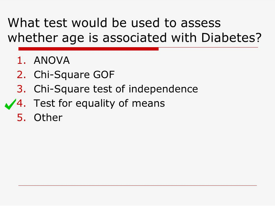 What test would be used to assess whether age is associated with Diabetes