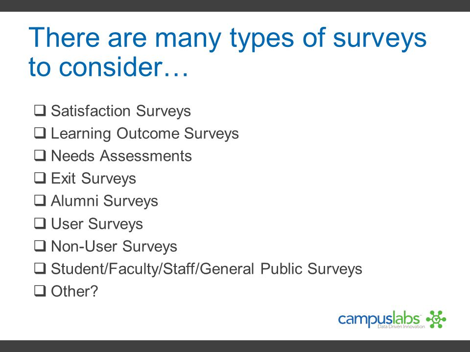 There are many types of surveys to consider…