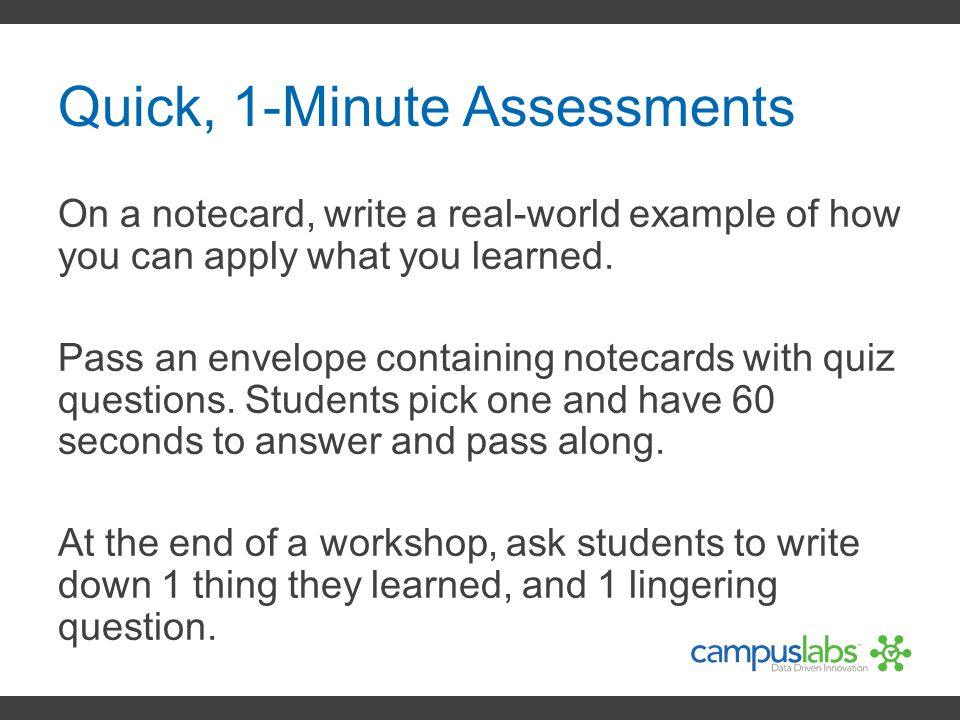 Quick, 1-Minute Assessments