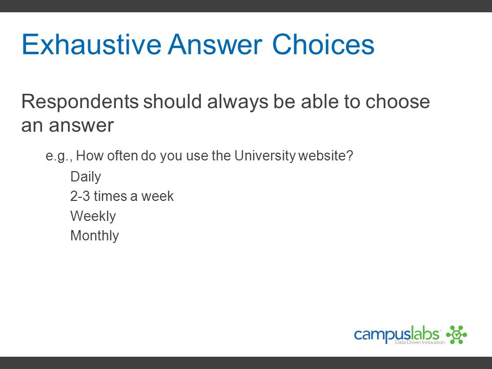 Exhaustive Answer Choices