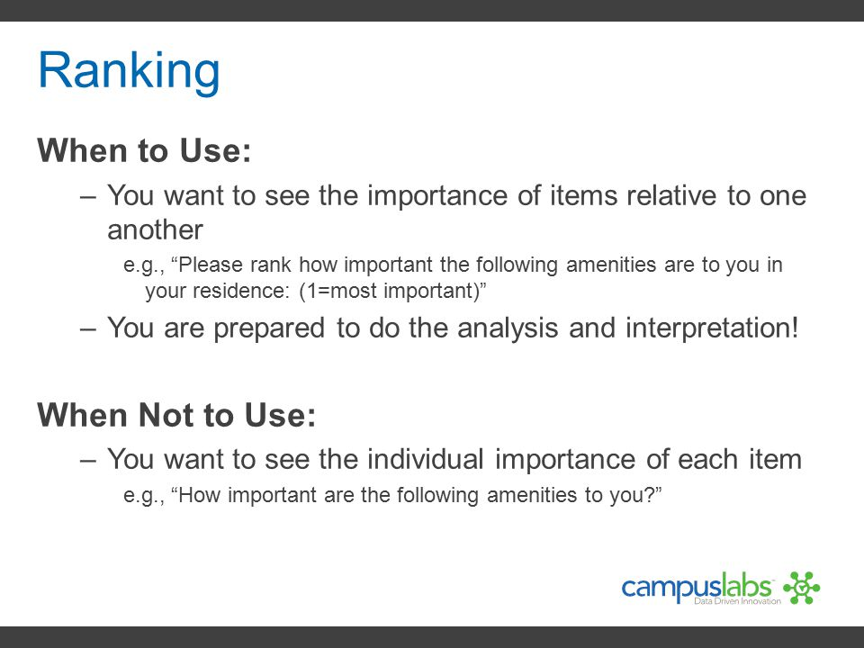 Ranking When to Use: When Not to Use:
