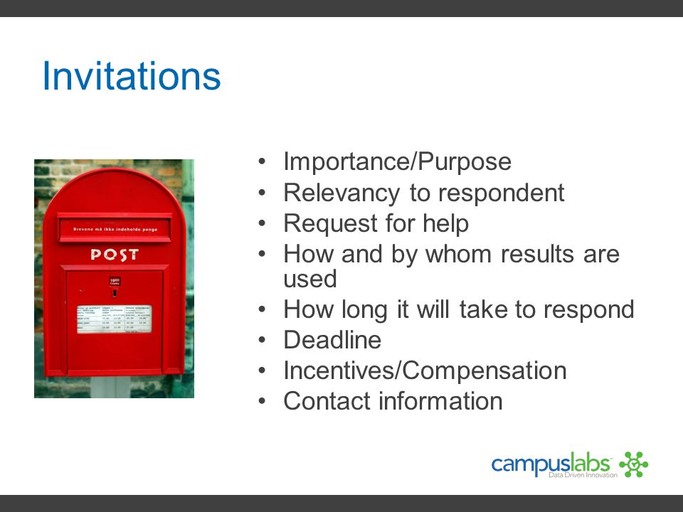 Invitations Importance/Purpose Relevancy to respondent
