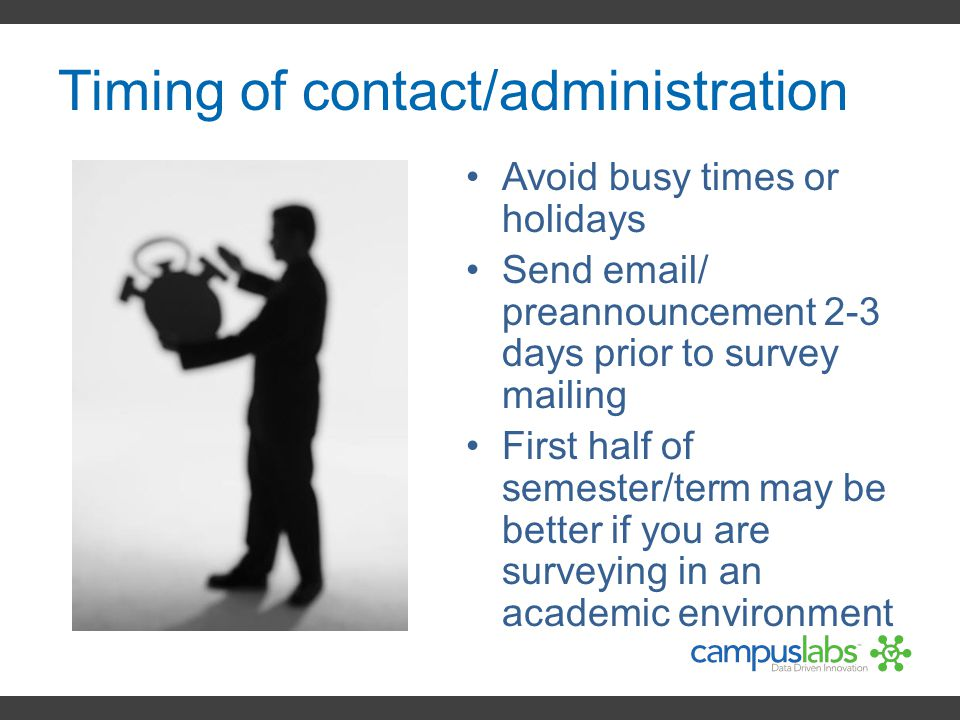 Timing of contact/administration