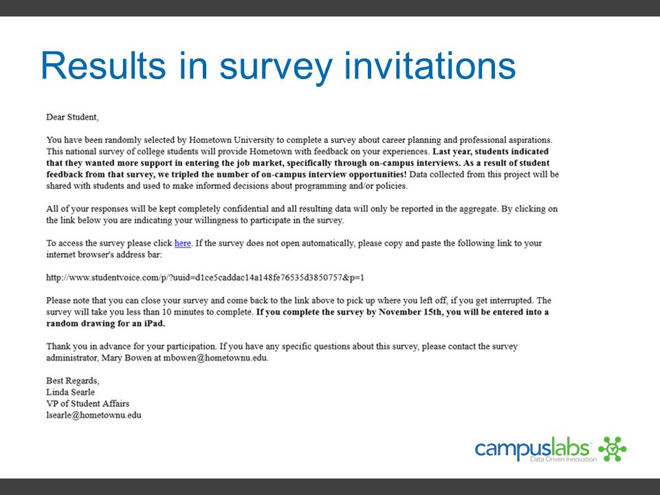 Results in survey invitations