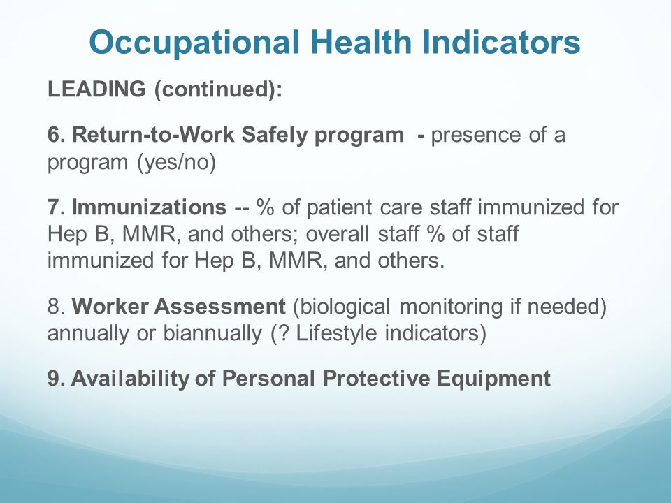 Occupational Health Indicators