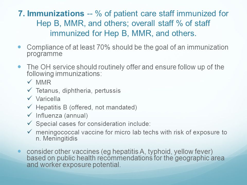 7. Immunizations -- % of patient care staff immunized for Hep B, MMR, and others; overall staff % of staff immunized for Hep B, MMR, and others.