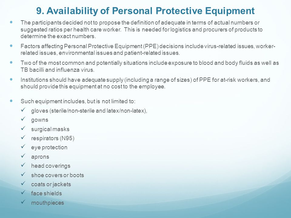 9. Availability of Personal Protective Equipment