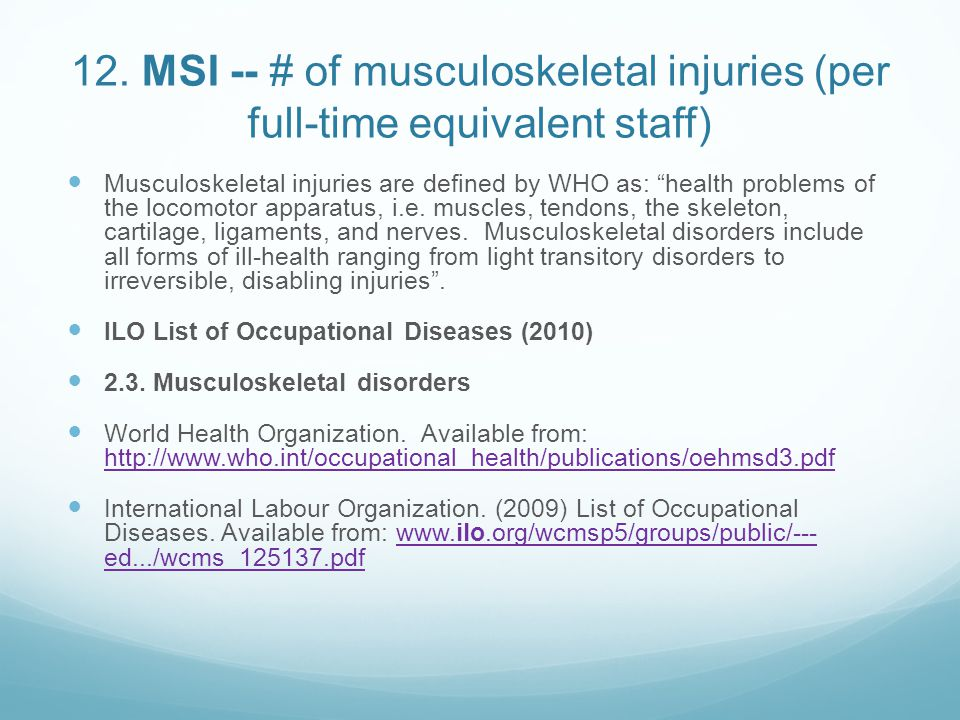 12. MSI -- # of musculoskeletal injuries (per full-time equivalent staff)
