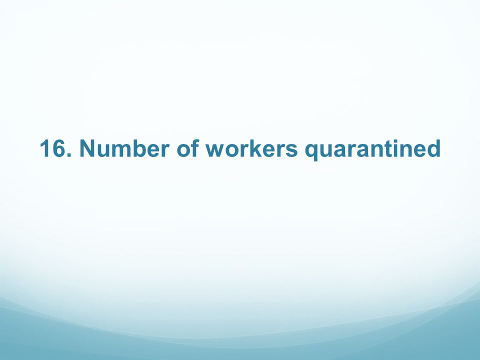 16. Number of workers quarantined