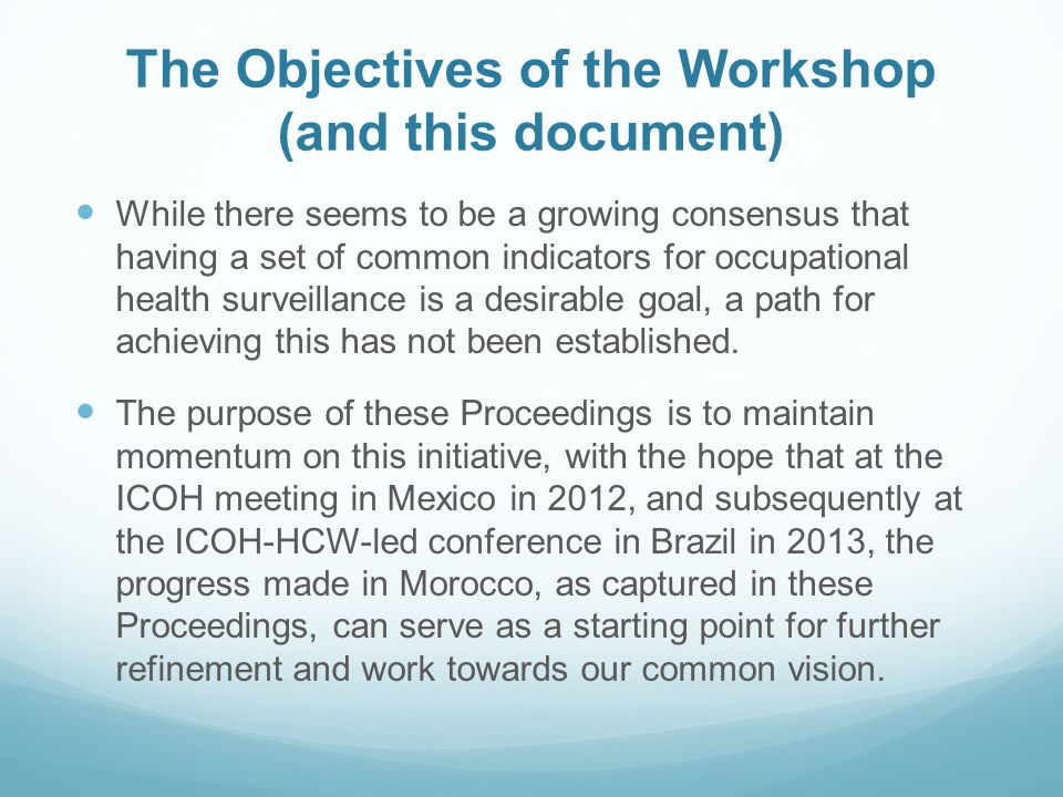 The Objectives of the Workshop (and this document)