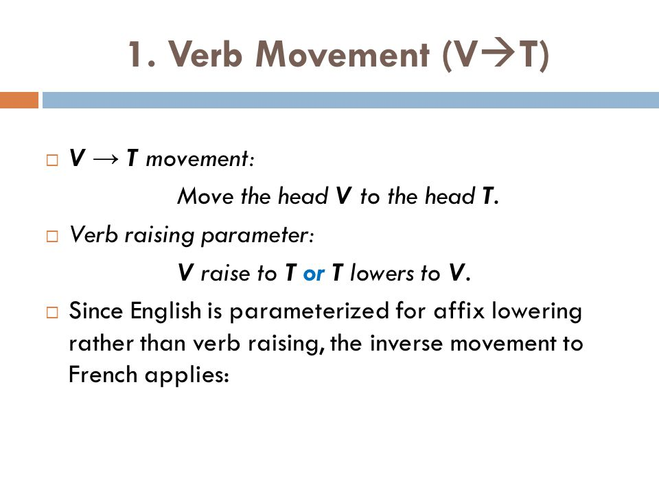 1. Verb Movement (VT) V → T movement: Move the head V to the head T.