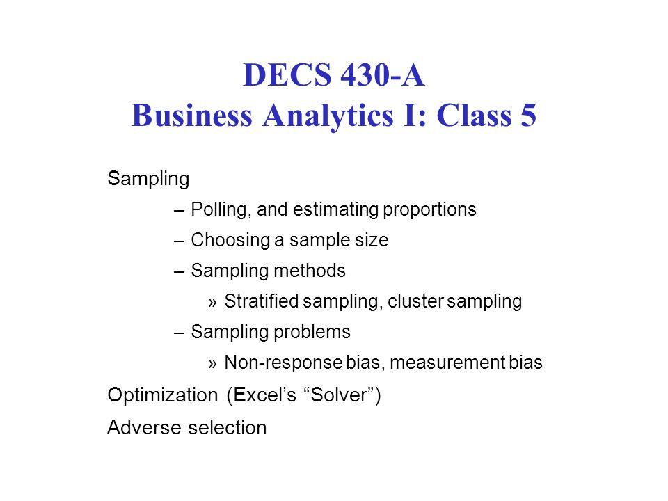 DECS 430-A Business Analytics I: Class 5