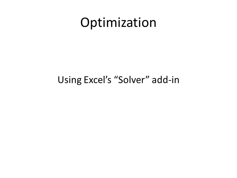 Using Excel's Solver add-in