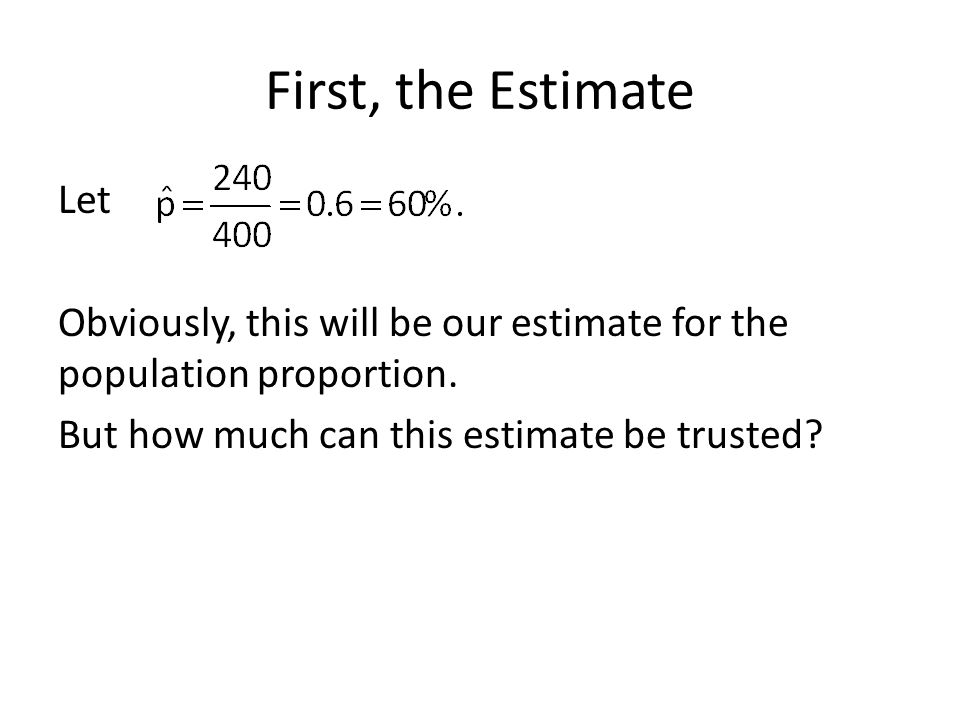 First, the Estimate Let Obviously, this will be our estimate for the population proportion.