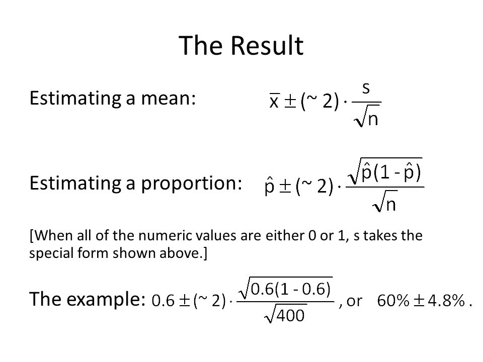 The Result Estimating a mean: Estimating a proportion: The example: