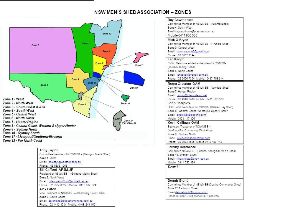 NSW MEN'S SHED ASSOCIATION – ZONES