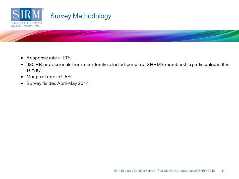 Survey Methodology Survey Methodology Response rate = 10%