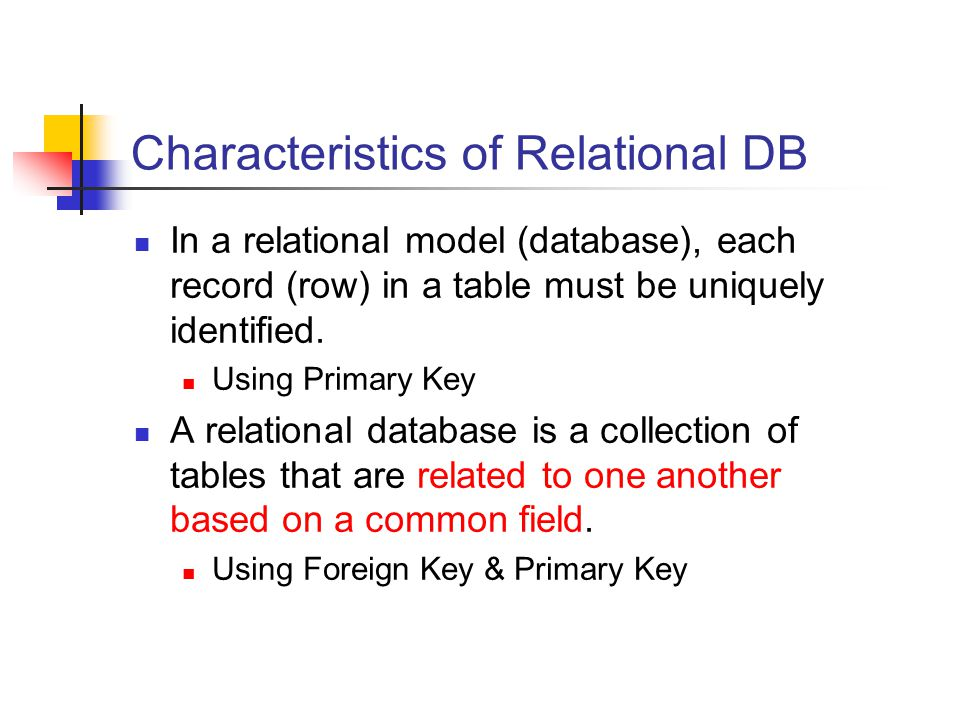 Characteristics of Relational DB